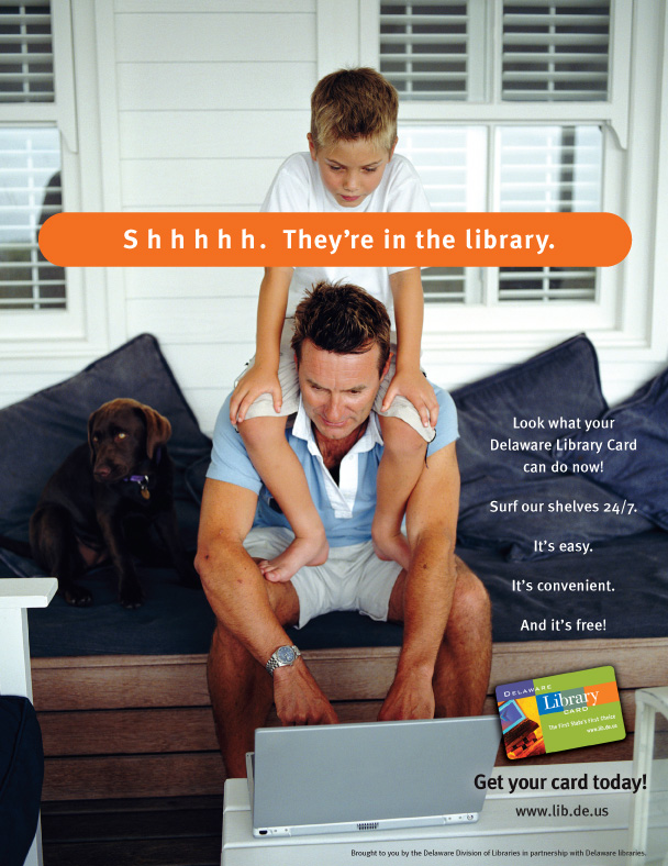 Ad for the Delaware Library online catalogue.